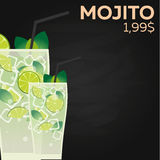 Mojito price. Fast food Restauran menu. Vector illustration. Royalty Free Stock Image
