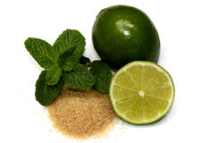 Mojito's ingredients. Photo of ingredients of mojito - lime, sugar and mint royalty free stock photography