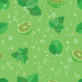 Mojito seamless pattern. Mojito green mint and lime vector background. Stock Images