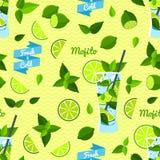 Mojito, Seamless Pattern. Vector illustration, eps10. Royalty Free Stock Photos