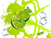 Mojito splash. Grunge abstract background with limes and mint Stock Images