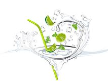 Mojito. Splash with limes, mint and ice cubes royalty free illustration