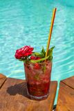 Raspberry mojito. Mojito standing on the edge of the pool Stock Photography