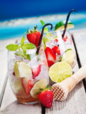 Mojito with Strawberries Royalty Free Stock Photos