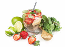 Mojito strawberry cocktails on a white background Stock Photography