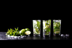 Mojito summer party refreshing tropical cocktail non alcohol drink in glass with soda water Royalty Free Stock Photo