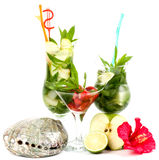 Mojito summer set with apple, lime and strawberry Stock Photos
