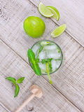 Mojito on wooden background. Mojito cocktail on wooden background Stock Images