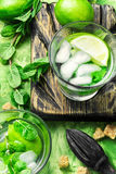 Mojitos cocktail with lime and mint leaves Royalty Free Stock Photography