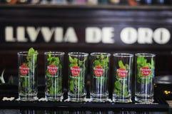 Mojitos in lijn, goed - bekende Cubaanse cocktail Stock Foto