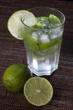 Mojitos with mint leaves, lime and ice Royalty Free Stock Images