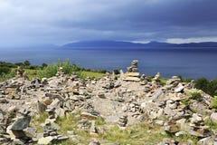 Mojones en la costa atlántica Imagen de archivo