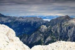 Mojstrovke Prisojnik i grań osiągamy szczyt, Juliańscy Alps Obraz Royalty Free