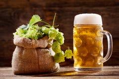 Mok bier en groene hop royalty-vrije stock foto's