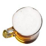 Mok bier met schuim op een wit Royalty-vrije Stock Foto