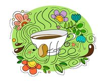 Mok koffie in een krabbelstijl met heldere abstracte elementen en dalingen van koffie royalty-vrije stock fotografie