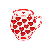 Mok van met rode hartenvector Royalty-vrije Stock Foto
