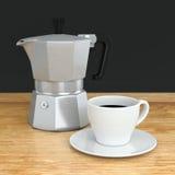 Moka coffee pot and cup Stock Photos