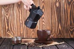 Moka coffee pot. Metal italian espresso maker Stock Photos