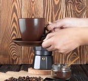Moka coffee pot. Metal italian espresso maker Stock Photo