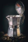 Moka coffee pot on stove Royalty Free Stock Photo