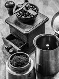 Moka express coffee pot and grinder Royalty Free Stock Photography