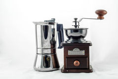 Moka Pot with Grinder Stock Photo