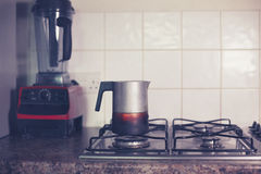 Moka pot on stove Royalty Free Stock Photos