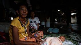 Moken family at Ko Lao Island Ranong Province Thailand royalty free stock image