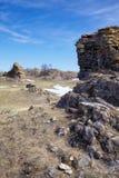 Mokiet skały blisko Baikal jeziora Zdjęcia Royalty Free