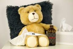 Mokietu niedźwiedź jest chory, rhinitis 102,2°F i temperaturę Zdjęcia Stock