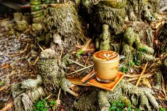 Mokka kawowy kubek Mokki kawowy stawiający na Bambusowym fiszorku Obrazy Royalty Free