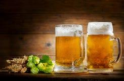 Mokken bier met groene hop en tarweoren stock foto's