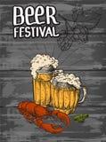 Mokken van bier en rode zeekreeft royalty-vrije illustratie