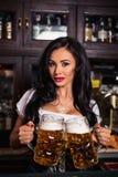 Mokken van het de holdingsbier van de Oktoberfest de Donkerbruine vrouw in bar royalty-vrije stock foto's