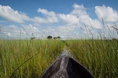 Mokoro Canoe Trip in the Okavango Delta near Maun, Botswana Royalty Free Stock Photo