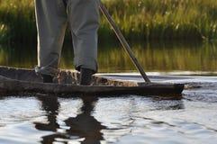 Mokoro en el delta de Okavango Fotos de archivo libres de regalías