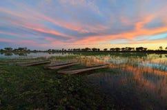 Mokoro nel delta di Okavango al tramonto, Botswana immagini stock