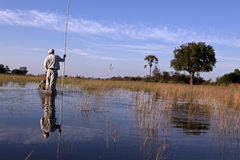 Mokoro. On the Okavango in Botswana Royalty Free Stock Images