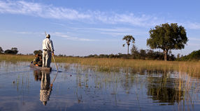 Mokoro. On the Okavango in Botswana Stock Photo