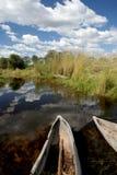 Mokoros en el delta Imágenes de archivo libres de regalías