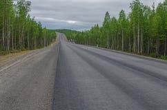 Mokra asfaltowa droga otaczająca lasem zachmurzone niebo Fotografia Royalty Free