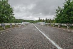 Mokra asfaltowa droga otaczająca lasem zachmurzone niebo Fotografia Stock