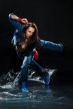 Mokra dancingowa kobieta. Fotografia Royalty Free