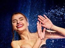 Mokra kobiety twarz z wody kroplą Obraz Royalty Free