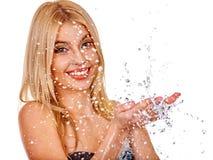 Mokra kobiety twarz z wody kroplą Obrazy Royalty Free
