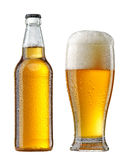 Mokra piwna butelka i szkło Zdjęcia Stock