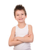 Mokra włosiana chłopiec z emocją na bielu Obraz Stock