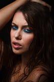 Mokry kobieta portret z wodą opuszcza na twarzy Obraz Stock