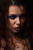 Mokry kobieta portret z wodą opuszcza na twarzy Obraz Royalty Free
